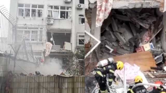青岛一居民楼爆燃,整楼玻璃被震碎