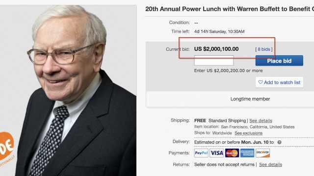 巴菲特午餐开拍,已有人出价千万