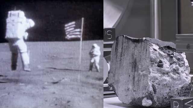 NASA展出月球岩石纪念人类登月50年