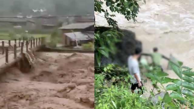 河水暴涨漫过桥,2男子洪水中网鱼
