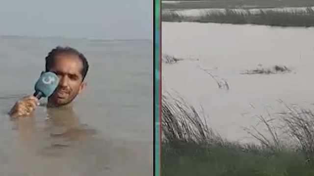 太拼了!巴基斯坦记者站洪水中直播