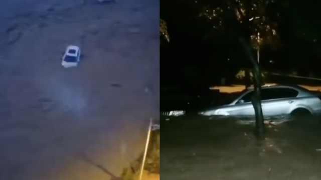 四川暴雨!河水猛涨漫过堤,冲走多车