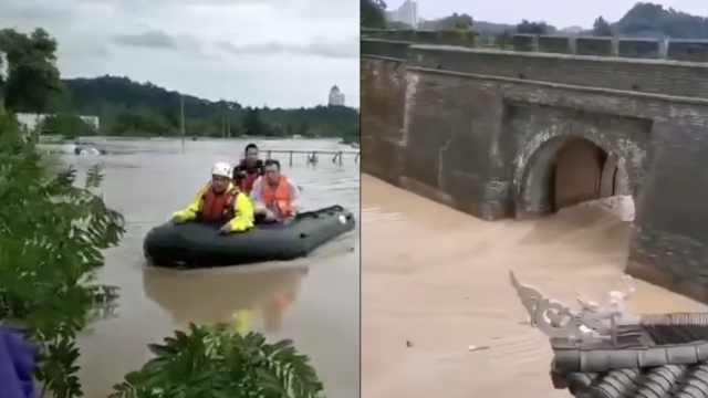 临海全城被淹,警方紧急征用冲锋舟
