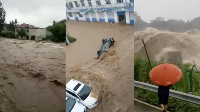 轿车漂起马路成河,临朐多处被淹