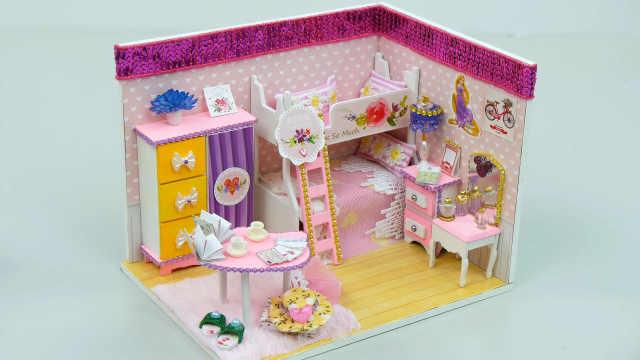 DIY粉色长发公主的卧室