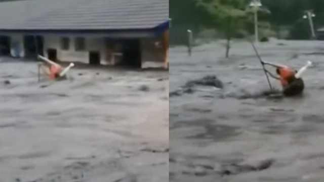 汶川山洪暴发2工人被困,1人被冲走