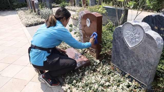 她6年每日与墓碑为伴,日擦千块碑