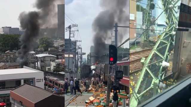 日本火车与卡车相撞脱轨,至少30伤