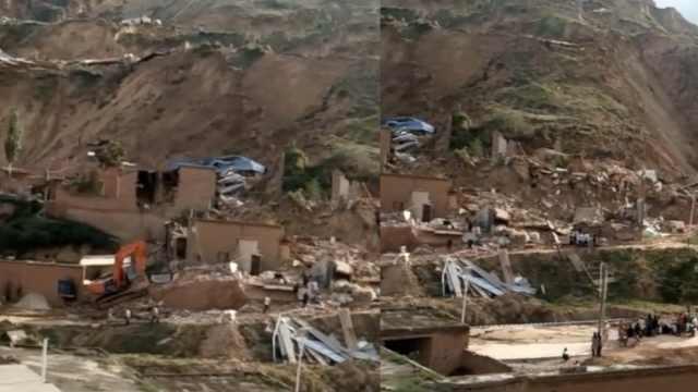 甘肃发生山体滑坡,90间房被埋受损