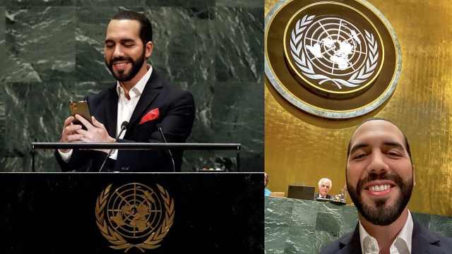 等等!萨尔瓦多总统联大发言先自拍
