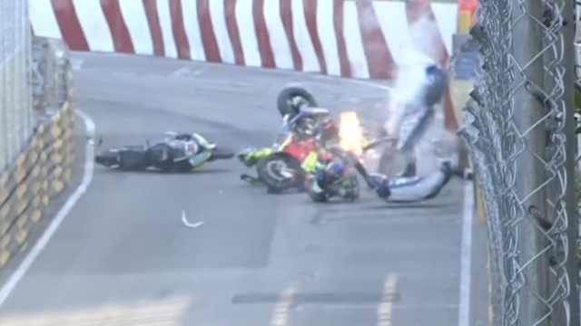 六车连撞!澳门摩托车赛被迫取消