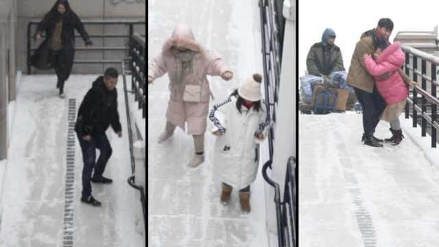 东北下雪处处是滑梯,孩子满地打滚