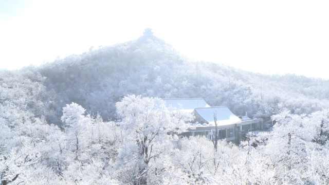 张家界天门山初雪:雾凇和云海交融