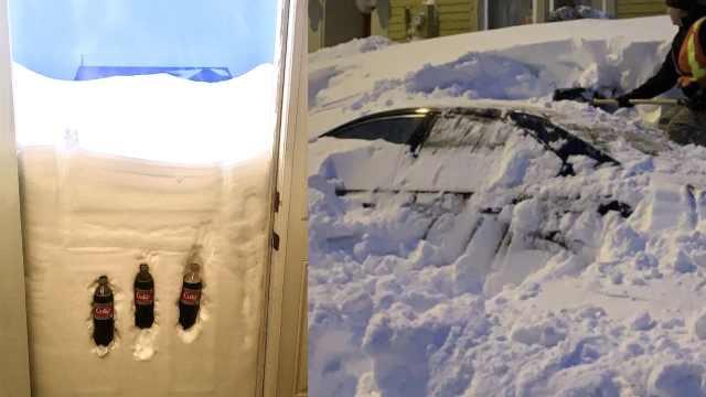遇罕见暴风雪,加拿大人考古式铲雪