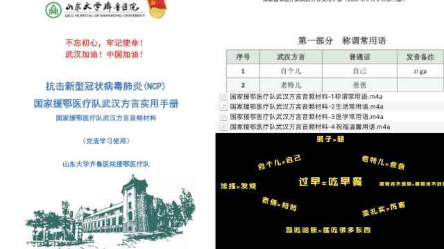 进驻武汉2天,山东医疗队编方言手册
