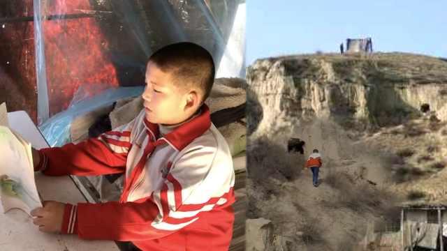 五年级男孩山顶搭帐篷,
