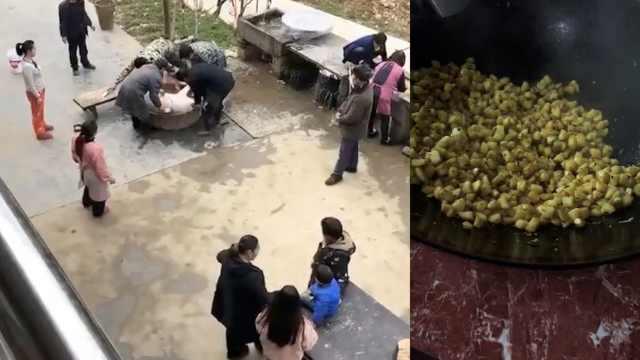 1家4口滞留湖北亲戚家,每顿15人吃饭,杀2头猪30只鸡还买羊