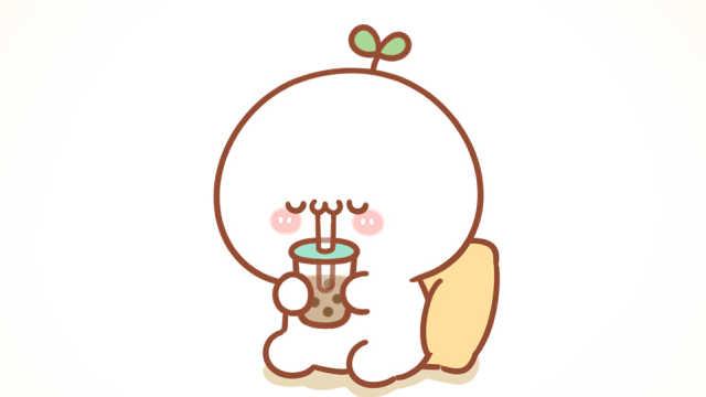 团子终于喝到了心爱的奶茶,终于可以吸溜吸溜喝奶茶啦!