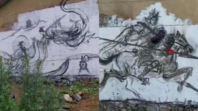 高手!农村小伙用烧火棍在墙上作画:火星四溅