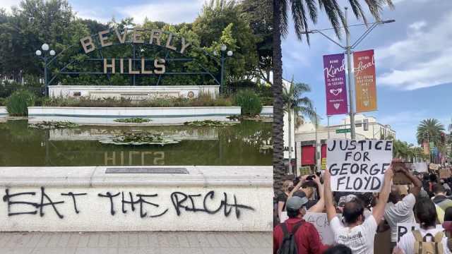 """抗议者在加州富人区大喊""""吃了有钱人"""",打砸"""