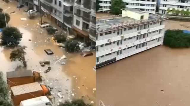 重庆石柱遭暴雨袭击,学校被淹车辆随洪水漂流