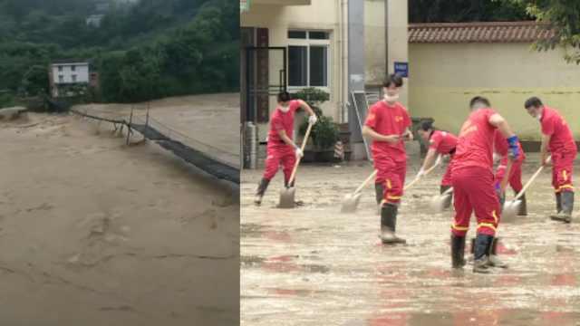 重庆綦江《失孤》取景桥遭洪水冲毁,街面淤泥要用铲车清