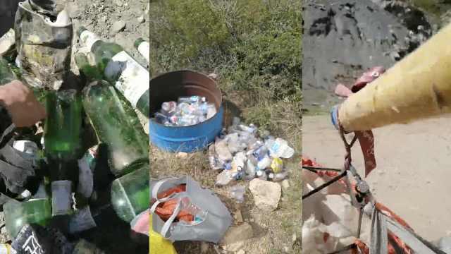 男子休假时进山5年捡4万多废瓶子,回收的钱全捐出