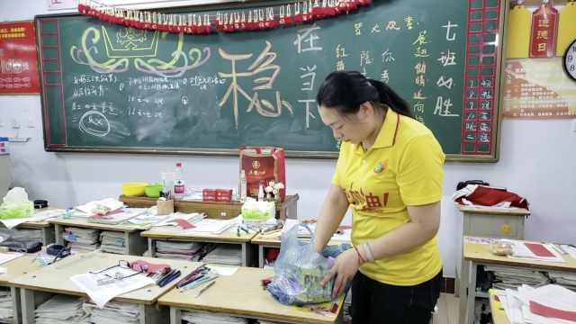 衡水老师考前每天为学生准备零食和爱心纸条: