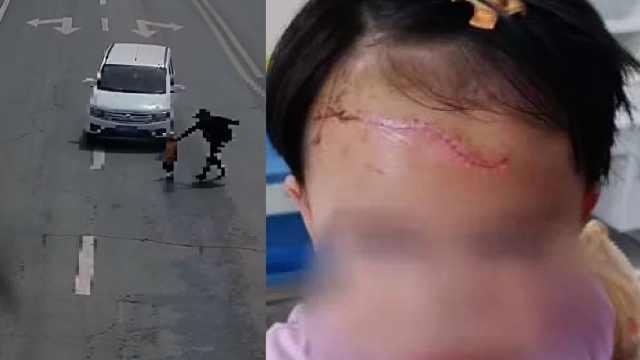 家长带2岁女童横穿马路,女童突然折返被撞飞