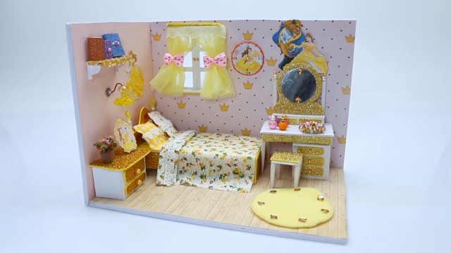 DIY迷你娃娃屋,贝儿公主的金色小屋