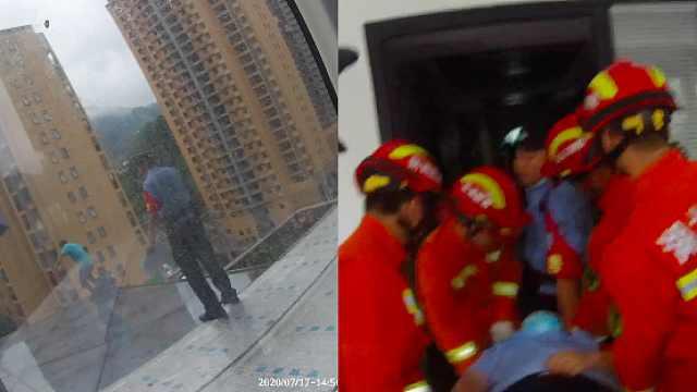 警员为救轻生男子当肉垫被砸伤,男子:做警察就这么拼命吗