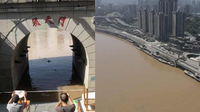 直击洪峰过境重庆,朝天门码头被淹,两江观光船停运