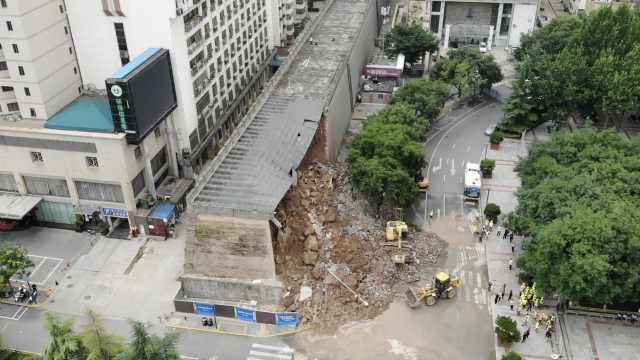 航拍西安明秦王府城墙保护砌体坍塌现场,车主忆惊魂瞬间