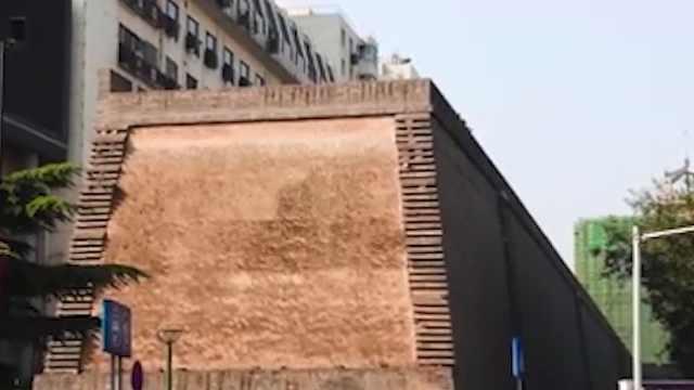 西安明秦王府一处城墙坍塌,此前曾出现裂痕