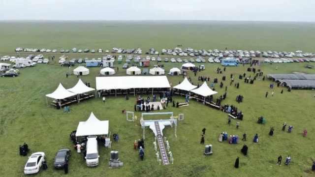 内蒙古牧民在大草原上举行布里亚特婚礼,女方带来牛羊作嫁妆