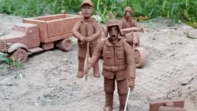 农村小伙用泥巴还原地雷战:当地有上千手艺人,想帮他们带货