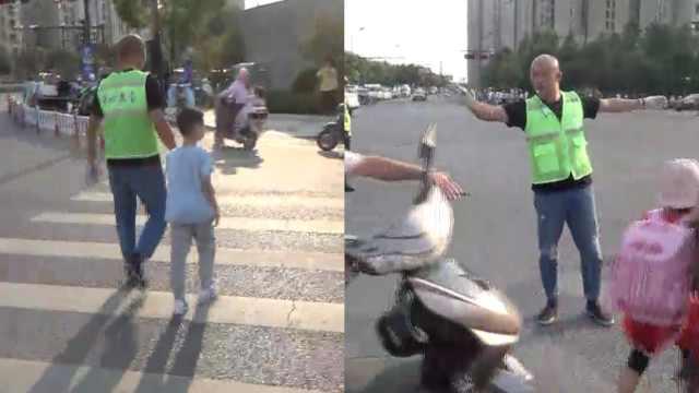 杭州光头大叔校门口义务护童11年:早晚执勤,平时炒股