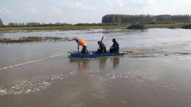 受台风影响涨水,姐夫妹夫过河牵牛双双翻船,妹夫被冲走失踪