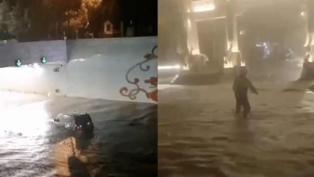 直击大理暴雨袭城,多处街道积水,汽车被淹水上漂