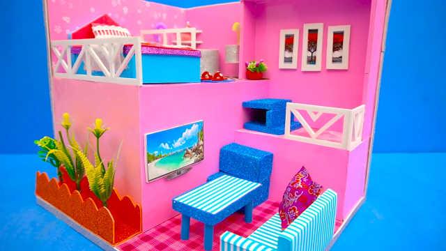 DIY迷你娃娃屋,错落有致的粉色卧室