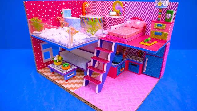 DIY迷你娃娃屋,小乌龟的跃层粉色别墅