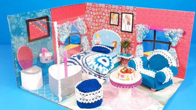 DIY迷你娃娃屋,芭比公主的爱心小公寓