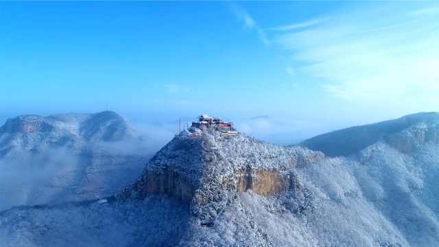 美成屏保!云台山迎来2021年第一场雪,飘然如仙境
