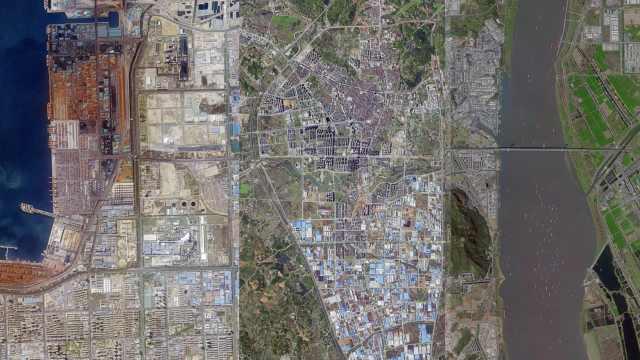 吉林一号卫星视角下的中国华东,与水为邻交通发达如蛛网