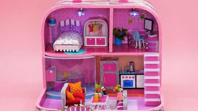 DIY迷你娃娃屋,旅行箱中的粉色小别墅