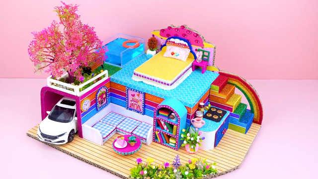 DIY迷你娃娃屋,彩虹色的蛋糕别墅