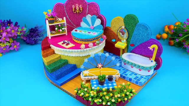 DIY迷你娃娃屋,花瓣设计的彩色别墅