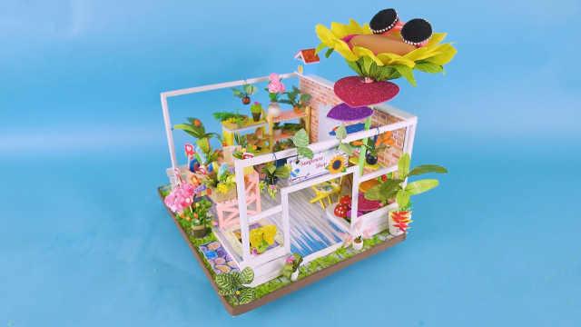 DIY迷你娃娃屋,向日葵主题的花店