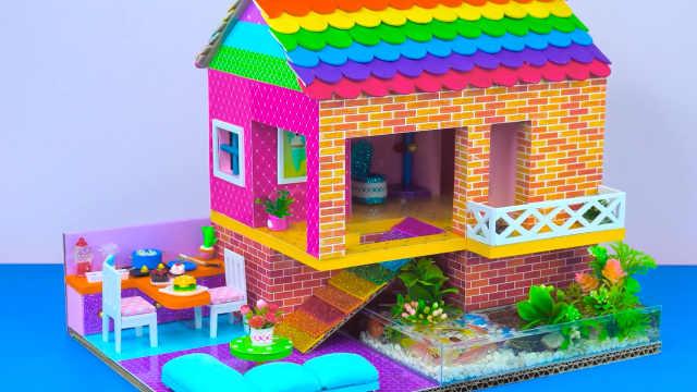 DIY迷你娃娃屋,彩虹色屋顶的红砖别墅