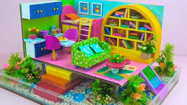 DIY迷你娃娃屋,水塘上的一室一厅房间